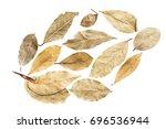 dry leaves on white background...   Shutterstock . vector #696536944
