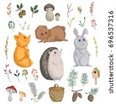 collection of forest animals ... | Shutterstock .eps vector #696537316