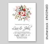 romantic pink anemone peony... | Shutterstock .eps vector #696539683