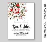 romantic pink anemone peony... | Shutterstock .eps vector #696539710