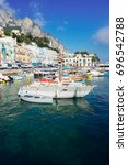 marina grande harbor of capri... | Shutterstock . vector #696542788