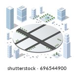 set of isometric objects and... | Shutterstock .eps vector #696544900