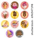 ice cream emoji set expressing... | Shutterstock .eps vector #696547198