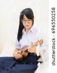 cute asian thai high school...   Shutterstock . vector #696550258