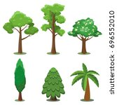 vector set of trees in flat... | Shutterstock .eps vector #696552010