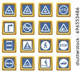 road sign set icons set in blue ... | Shutterstock .eps vector #696553486