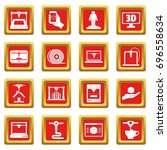 3d printing icons set in red... | Shutterstock .eps vector #696558634