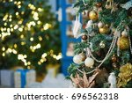 closeup handmade christmas tree ... | Shutterstock . vector #696562318