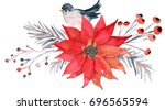 christmas bouquet with... | Shutterstock . vector #696565594
