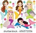 Vector Set With Cute Mermaids