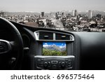 view of the road from inside... | Shutterstock . vector #696575464