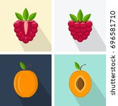 raspberry and peach. colorful... | Shutterstock .eps vector #696581710