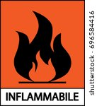 inflammable sticker | Shutterstock .eps vector #696584416