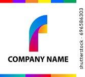 bold letter f logo design.... | Shutterstock .eps vector #696586303