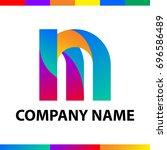bold letter m logo design.... | Shutterstock .eps vector #696586489