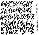 hand drawn dry brush font.... | Shutterstock .eps vector #696591103