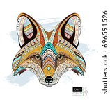 patterned fox head. ethnic... | Shutterstock .eps vector #696591526