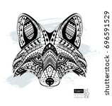 fox head coloring book   page.... | Shutterstock .eps vector #696591529
