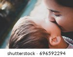 close up of young woman with... | Shutterstock . vector #696592294