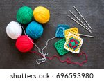 Red  White Yarn  Crocheted...