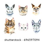 set of nine different... | Shutterstock . vector #696597094
