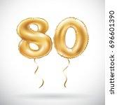 vector golden number 80 eighty... | Shutterstock .eps vector #696601390