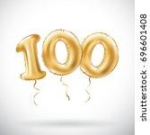 vector golden number 100... | Shutterstock .eps vector #696601408