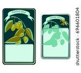olive oil front and back label  ... | Shutterstock .eps vector #696601804