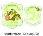 olive oil front and back label  ... | Shutterstock .eps vector #696601810
