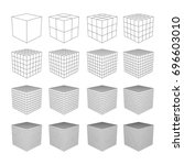 wireframe mesh cube in... | Shutterstock .eps vector #696603010