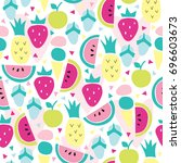 seamless colorful summer fruits ... | Shutterstock .eps vector #696603673