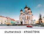 tallinn  estonia. morning view... | Shutterstock . vector #696607846