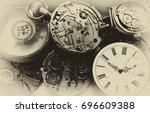 vintage clocks  steam punk... | Shutterstock . vector #696609388