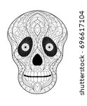 skull coloring page | Shutterstock .eps vector #696617104