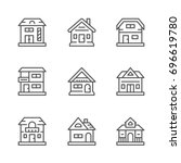 Set Line Icons Of Houses
