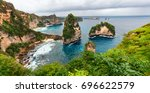 sea coast view with little... | Shutterstock . vector #696622579
