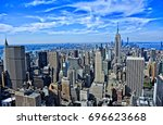 aerial view of manhattan's... | Shutterstock . vector #696623668
