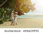 couple  dancing  on  tropical... | Shutterstock . vector #696623953