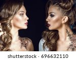 close up portrait of two sides...   Shutterstock . vector #696632110