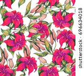 floral background of red lily... | Shutterstock . vector #696634018