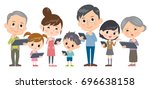 family 3 generations internet... | Shutterstock .eps vector #696638158