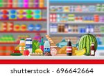 supermarket store interior with ... | Shutterstock .eps vector #696642664