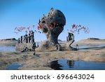 flying red creatures swarming... | Shutterstock . vector #696643024