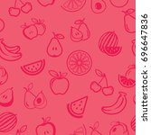 pictograph of fruits pattern... | Shutterstock .eps vector #696647836