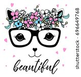 beautiful cat and flower crown... | Shutterstock .eps vector #696649768