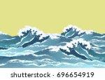 Sea Waves In Oriental Vintage...
