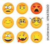 set of emoticons. set of emoji. ... | Shutterstock .eps vector #696658600