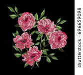 vector embroidery with camellia ... | Shutterstock .eps vector #696659098