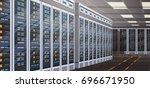 data center room hosting server ... | Shutterstock .eps vector #696671950