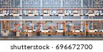 car production conveyor... | Shutterstock .eps vector #696672700